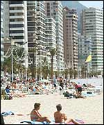 A beach in Benidorm