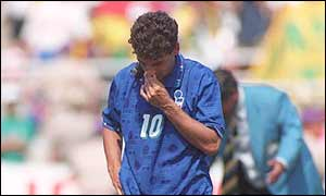 Italy's Roberto Baggio missed a key penalty in the final at USA '94