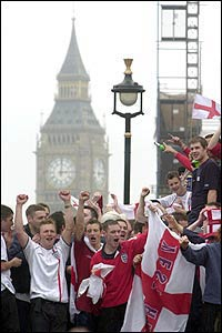 England fans celebrate inTrafalgar Square after England's World Cup victory over Argentina