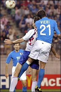 Italy's Christian Vieri plants a header to hand Italy the lead against Croatia