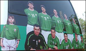 The Irish team picture at the back of their team bus in Japan