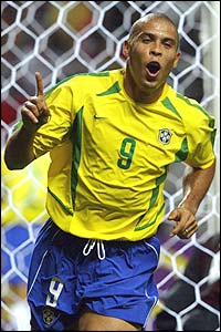 Ronaldo celebrates his goal as Brazil go into a 4-0 lead