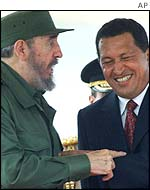 Fidel Castro (left) and Hugo Chavez