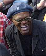 Samuel L Jackson leads the celebrity cavalcade at the fight