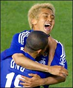 Junichi Inamoto celebrates his second goal of the tournament