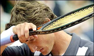 Juan Carlos Ferrero shows his frustration