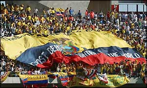 Ecuador fans during the game against Mexico