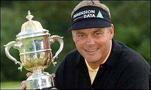 Darren Clarke with the English Open Trophy at the Forest of Arden