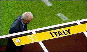 Italian coach Giovanni Trapattoni looks despondent during Italy's 2-1 defeat to Croatia
