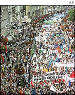 Polish farmers protest in 1999