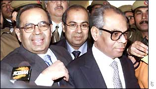 The Hinduja brothers emerging from a Delhi court