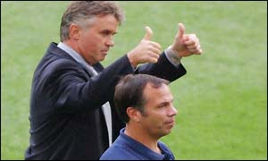 South Korea coach Guus Hiddink with USA counterpart Bruce Arena