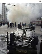 A car burns in central Moscow