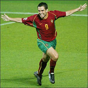 Portugal striker Pauleta celebrates after scoring in the 14th minute