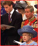 Prince William, Prince Charles and the Queen
