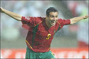 Portugal's Pauleta celebrates after scoring his second goal in the 65th minute