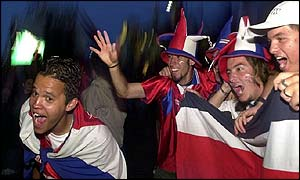 Costa Rica fans celebrate in San Jose