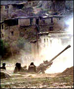 Indian artillery fire in the Kargil mountains in 1999