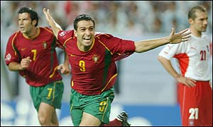 Pauleta celebrates scoring against Poland