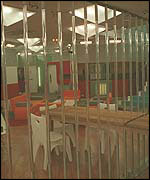 Prison-like bars in the Big Brother house