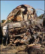 Carcass of one of the vehicles involved in the crash