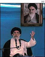 Iran's supreme leader, Ayatollah Ali Khamenei, delivers a speech