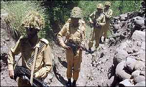 Pakistani soldiers patrol the line of control