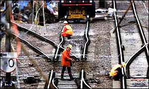 Railtrack engineers working on the track at Potters Bar