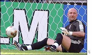 Fabien Barthez curses after Denmark score their second goal