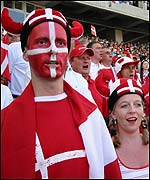Danish fans at the game