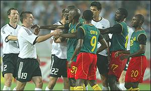 Cameroon's players brawl with Germany's