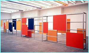 Consultation Partition by Liam Gillick, made of aluminium, plastic and plywood