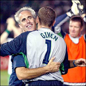 Ireland manager Mick McCarthy hugs his goalkeeper Shay Given after the 3-0 win over Saudi Arabia