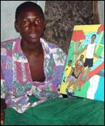 Abu Bangura with one of his pictures