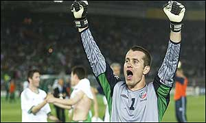 Shay Given celebrates after Ireland's 3-0 win over Saudi Arabia