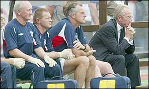 Sven-Goran Eriksson shows little emotion on the bench