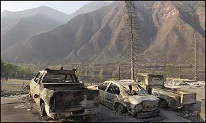 Burned out vehicles above the Storm King Mobile Home Park in West Glenwood Springs