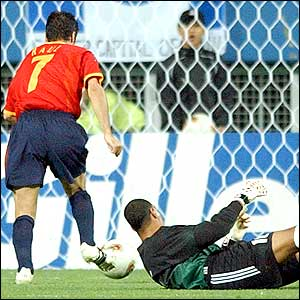 Raul scores for Spain in the third minute