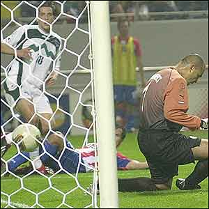 Acimovic's cross-cum shot hit Chilavert and went through the goalkeeper's legs