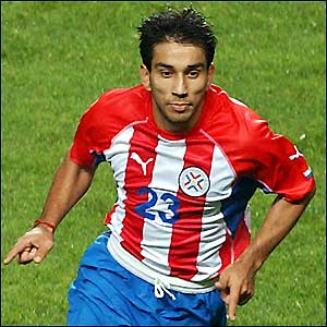 Nelson Cuevas celebrates hitting an equaliser for Paraguay after only being on the pitch for five minutes
