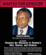 Wanted poster for Felicien Kabuga