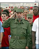 Castro stands to attention during Wednesday's demonstration