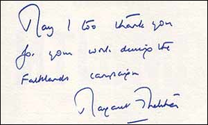 Letter from Margaret Thatcher