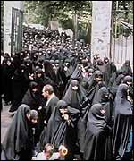 Iranian women emerge from Friday prayers