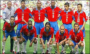 Costa Rica line up before the Brazil game on Thursday