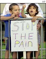 Children protest outside the summit