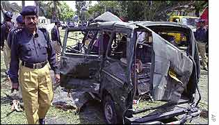 One of the vehicles damaged in the blast