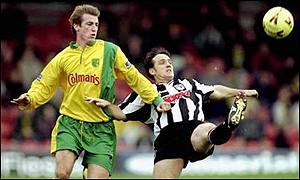 David Smith (right) in action for Grimsby against Norwich