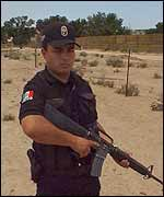 An officer on patrol on the Mexican border