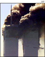 The twin towers blaze on 9/11